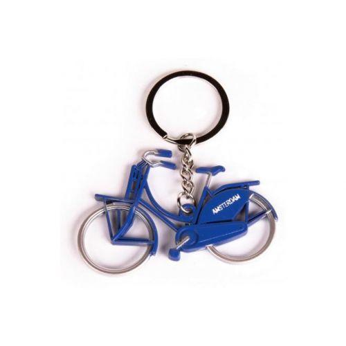 Sleutelhanger Amsterdam metallic blauw