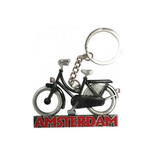 Sleutelhanger Amsterdam zwart tin