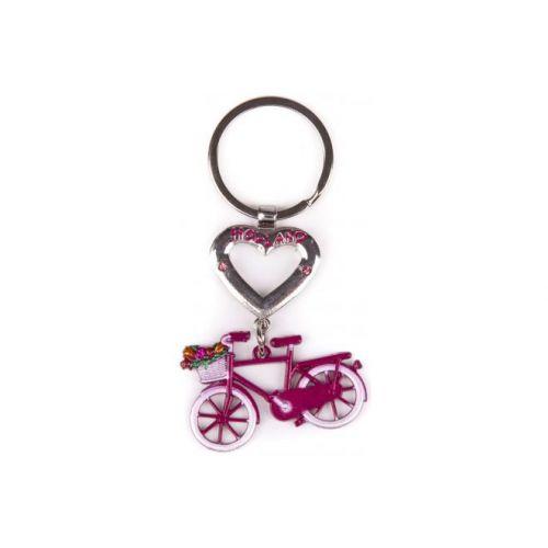 Sleutelhanger Holland roze met hart