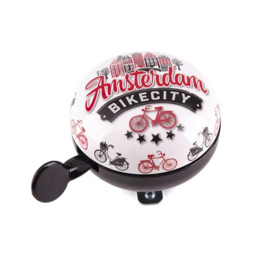 Amsterdam fietsbel Bike City wit zwart 80 mm