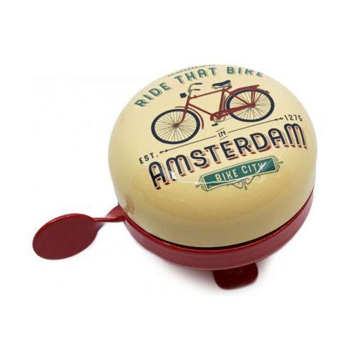Amsterdam fietsbel Ride that Bike vanille rood 58 mm