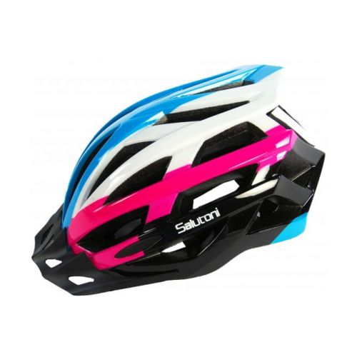 Salutoni dames fietshelm blauw wit roze 58-61 cm