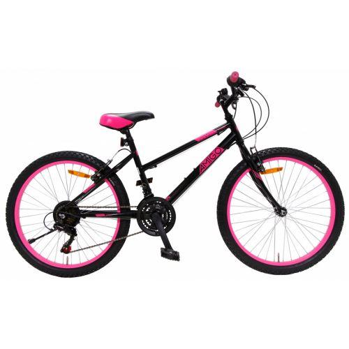Power 24 Inch 38 cm Meisjes 18V V-Brakes Zwart/Roze