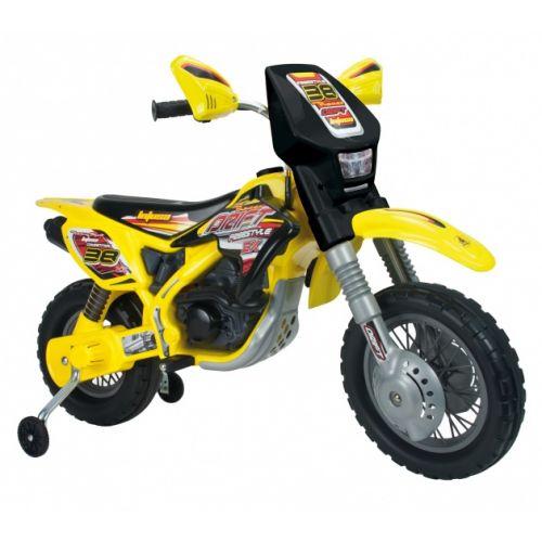 accuvoertuig motorbike Thunder Max 12V 115 cm geel