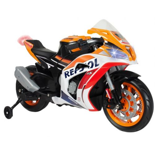 accuvoertuig motorfiets Repsol 12V 113 cm oranje/wit
