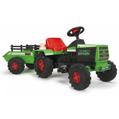 accuvoertuig tractor met aanhanger 6V 140 cm groen