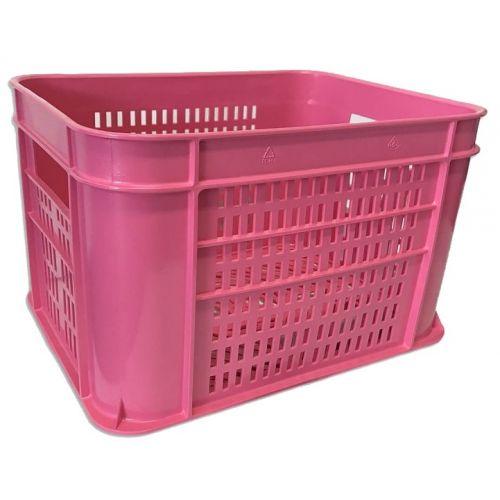 fietskrat 30 liter kunststof roze