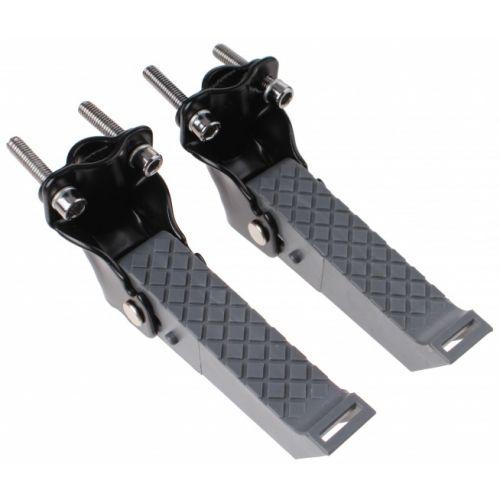 voetsteunen opklapbaar met riemen zwart/grijs