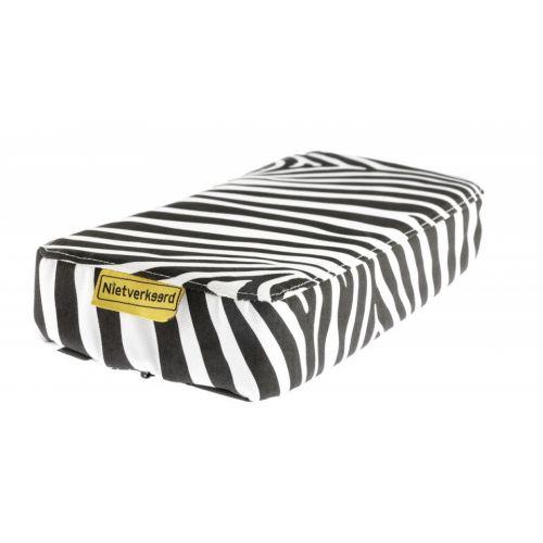 bagagedragerkussen zebra 32 x 15 cm PVC zwart/wit
