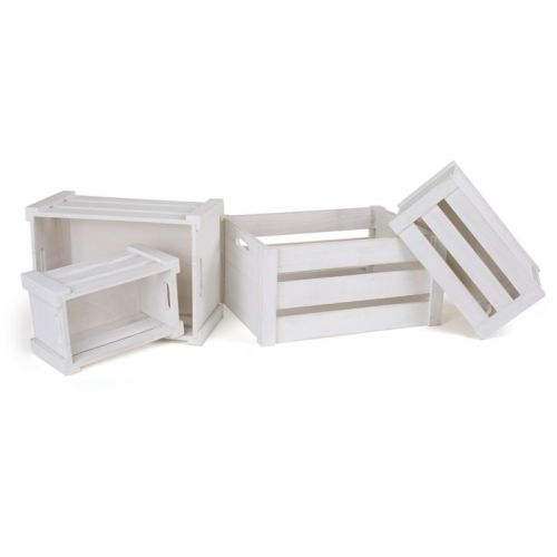 houten kratten wit 4 stuks