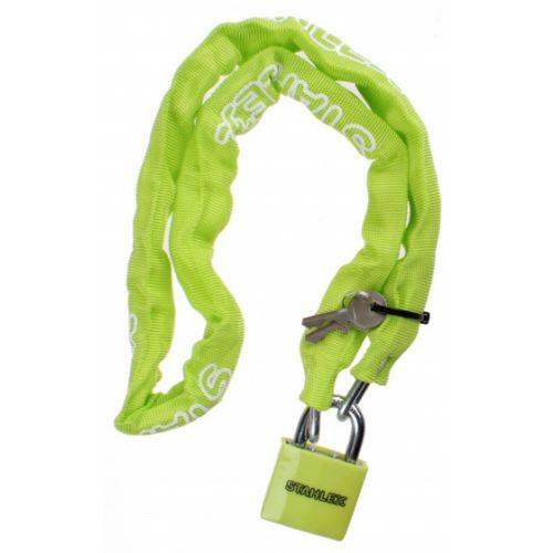 kettingslot met nylon hoes staal 1000 x 5 mm groen